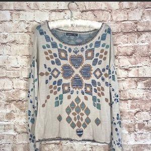 Gypsy 05 GlobalVillage Tan Multi Intarsia Sweater